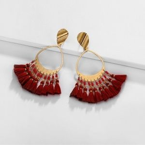 Multi Tassel Water Drop Earrings, Red